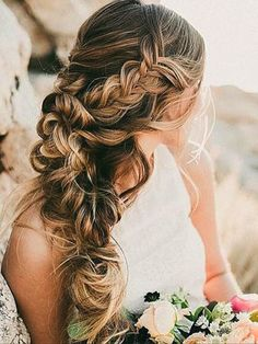 Textured plait wedding hair inspiration #wedding #hair #hairstyle Instagram/wedding_hair