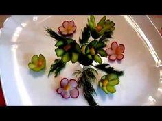 Цветы из огурца. Украшения из овощей. Carving cucumber. Decoration of vegetables - YouTube