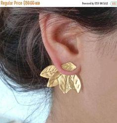 Ear Jackets Gold Two in One Ear Jackets Leaf Ear Climbers