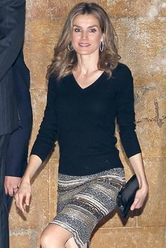 I love the black sweater with the sequin skirt;  Princess Letizia