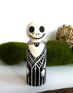 Jack Skellington The Nightmare Before Christmas Wooden Wood Peg Doll Cake Topper or Keepsake Collectable Play Doll Peggies Peg People