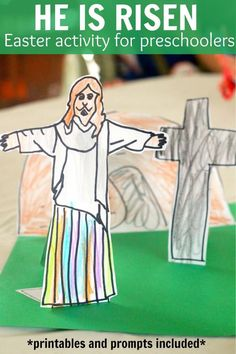 He is Risen Easter activity printable and prompt for preschoolers and toddlers that teaches about Jesus' death and resurrection.