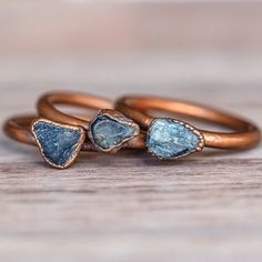 Raw Sapphire and Copper Rings || Available in our 'Earthly Treasures' Collection || www.indieandharper.com