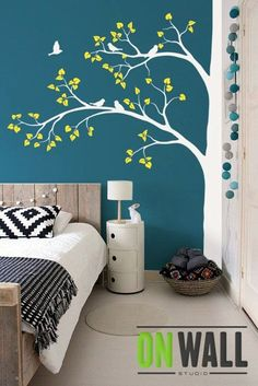 Large tree Nature vinyl wall tree decal Nursery wall decals vinyl wall stickers – Tree wall decal - Decoration For Home Bedroom Paint Design, Wall Design, Bedroom Designs, Tree Design On Wall, Design Design, Living Room Designs, House Design, Coral Bathroom Decor, Bathroom Colors