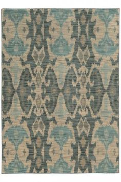 Crafted from a space-dyed polypropylene/nylon blend, the durable Oriental Weavers Sedona Washed Ikat Rug features an attractive, weathered ikat design showcasing a charming color palette of ivory, blue and grey. Teal Accents, Nature Color Palette, Synthetic Rugs, Shades Of Teal, Machine Made Rugs, Showcase Design, Queen, Rugs Online, Woven Rug