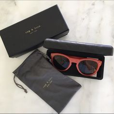 Rag and Bone Keaton Sunglasses Super cool red/coral Keaton sunglasses from Rag and Bone. Includes original box, leather wrapped hard case and dust bag, as shown. Purchased from Saks and only worn a couple times - very comfortable on the face.  rag & bone Accessories Sunglasses
