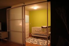 Room divider using Stolman Poles and Ikea Sliding Doors - Favorite Places and Spaces - Kinderzimmer Sliding Door Room Dividers, Cheap Room Dividers, Fabric Room Dividers, Portable Room Dividers, Wooden Room Dividers, Hanging Room Dividers, Sliding Doors, Sliding Cupboard, Barn Doors