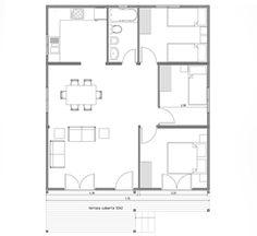 Planos Casas de Madera Prefabricadas: Plano Casa de Madera prefabricada 73 m2