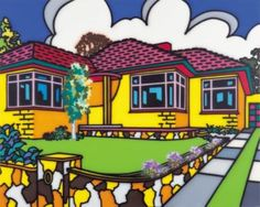 Family home: Suburban exterior by Howard Arkley, synthetic polymer paint on canvas, x cm, Monash University Museum of Art, Melbourne Purchased © The Estate of Howard Arkley. Licensed by Kalli Rolfe Contemporary Art Magnum Opus, Mondrian, Howard Arkley, Musica Punk, Elements Of Design, Sculpture, Australian Artists, Urban Landscape, Landscape Art