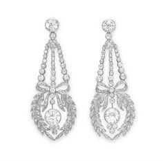 Wreath earrings | 1910 | Diamonds & platinum | Christie's for $35,000