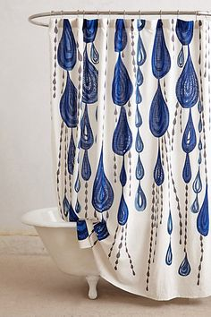 Spa showers with Ryan Hoffmann whimsical giant water drop shower curtain ; )  Jardin Des Plantes Shower Curtain - anthropologie.com #anthroregistry