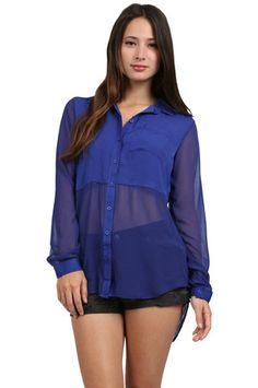 The Cupra Button Down in Ultra Marine by Free People from MFredric.com