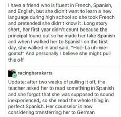 What does it even matter if she already knows the languages? Like, seriously, who cares? No one even remembers the languages they take in high school.