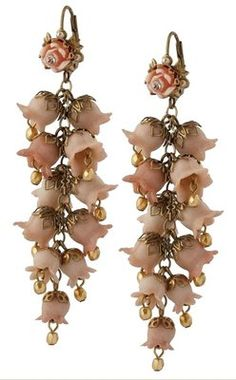 Michal Negrin Delicate Earrings Garnished with Hyacinth Bouquet & Vintage Roses Nifty but a little over the top