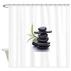 Zen pebbles balance. Spa and health Shower Curtain