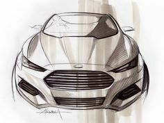 Ford Fusion Design Sketch by Andrea di Buduo Car Design Sketch, Car Sketch, Train Sketch, Bike Sketch, Design Art, Fusion Design, Industrial Design Sketch, Ford Fusion, Car Drawings