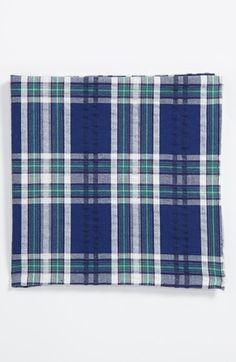 $19, Navy Plaid Pocket Square: Simon Cotton Pocket Square Royal Blue One Size. Sold by Nordstrom. Click for more info: https://lookastic.com/men/shop_items/159972/redirect