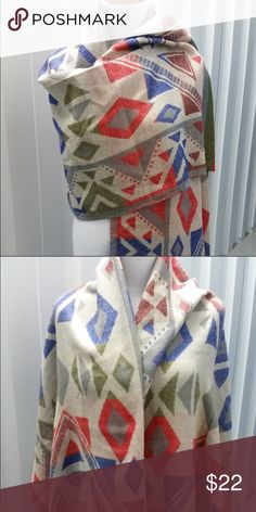 Aztec Print Scarf Beautiful bright scarf with an Aztec inspired design. Instagram: @shopflutterby Accessories Scarves & Wraps