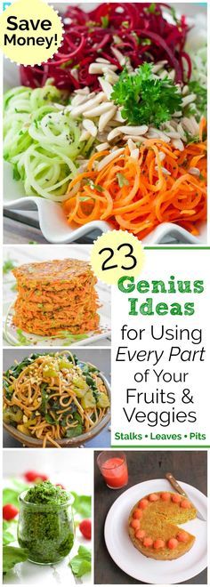 Fun, money-saving, thrifty recipes! Surprising ideas for using up every single part of your fruits and veggies – stalks, stems, peels, leaves … even pits! These ingenious recipes help you eat your vegetables and fruits – ALL of them! Save money on food bills and reduce food waste by using up vegetable stems, fruit and vegetable peels - so many things you would normally throw away! Creative, healthy, thrifty recipe ideas you'll love trying! | www.TwoHealthyKitchens.com