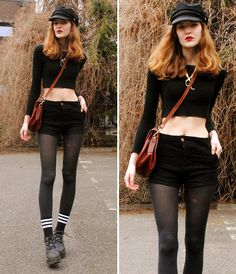 Cosette Munch - Black Vegamössa, Dinosaur Necklace, Crop Top, Second Hand (Ebay) Vintage Pu Bag, Black Denim Shorts, Warm Socks - Anti-Climax
