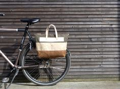 Waxed canvas pannier / bicycle bag  with zipper by treesizeverse, $149.00