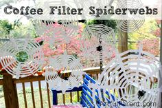 Looking for an easy Halloween craft for kids? Coffee filters, sissors, and black felt make a fun spider web!Coffee Filter Spiderwebs for DIY Halloween Decorations Halloween Decorations For Kids, Halloween Activities, Holidays Halloween, Halloween Kids, Paper Halloween, Halloween Office, Halloween Goodies, Halloween Stuff, Fall Crafts