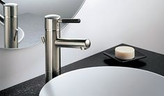Quiessence Bath Collection by Brizo Minimalist Bathroom Design, Modern Minimalist, Bathroom Faucets, Sinks, Bathrooms, Waterfall Faucet, Kitchen Gallery, Plumbing Fixtures, Vanity Sink