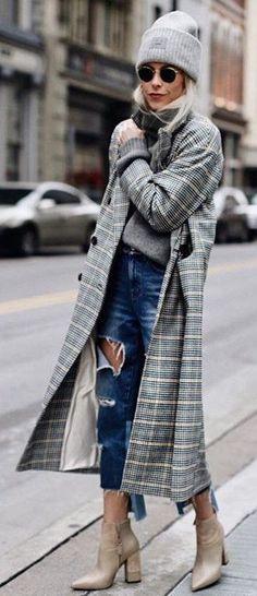 #winter #fashion / Grey Beanie / Grey Turtleneck / Destroyed Denim / Beige Leather Booties