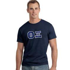 Theta Xi Letter T-Shirt - Gildan 5000 - TWILL