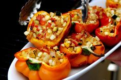 Smoke-Roasted Stuffed Bell Peppers (can also just boil the peppers to make them light and tender, if you have turned off your grill for the season)