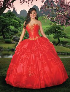 Disney Royal Ball | Quinceanera Dresses | Quinceanera Dresses by Disney Royal Ball - MULAN - Make a bold statement with this chinoiserie-inspired, ruffled, organza ball gown that captures Mulan's heroic spirit and valiant heart.
