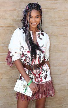 Chanel Iman: Braids for Coachella 2017