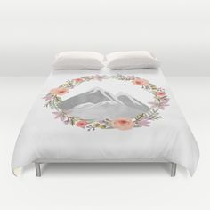 Buy ultra soft microfiber Duvet Covers featuring Mountain Wreath by Jenna Davis Designs. Hand sewn and meticulously crafted, these lightweight Duvet Cover vividly feature your favorite designs with a soft white reverse side.