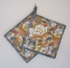 Pot Holders Set of 2 Large Floral Hot Pad by ISewTotes on Etsy, $13.50