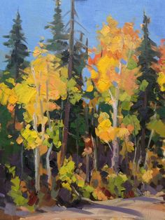 """Fall Chroma 9x12"""" oil jabens0914 Landscape Paintings, Landscapes, Oil Paintings, Cedar City, Aspen Trees, Land Art, Tree Art, Arts And Crafts, Fall"""