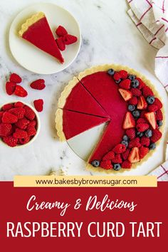 This creamy tart Raspberry Curd Tart is easy to make and absolutely delicious. Homemade raspberry curd is poured into a #shortbread cookie crust and baked. It's then topped with fresh berries. Both of the main ingredients can be used for other desserts too, so if you need a quick and easy tart dough for other tarts or a raspberry curd for breakfast or dessert get this recipe at Bakes by Brown Sugar.#bakesbybrownsugar #raspberries #fruittart #curd #dessert #summerfruit. Sugar Free Desserts, Homemade Desserts, Party Desserts, Summer Desserts, Easy Tart Recipes, Best Dessert Recipes, Sweets Recipes, Tart Crust Recipe, Curd Recipe
