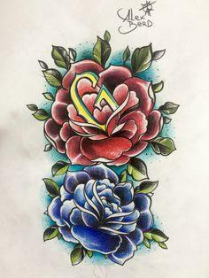 Red blue roses. Color sketch.  Красная Голубая роза!
