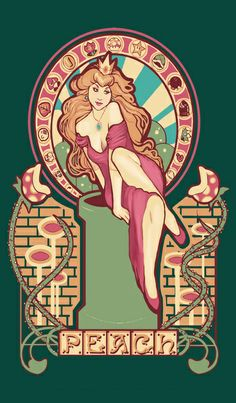 Art nouveau prints of female Nintendo characters by Megan Lara