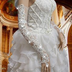 White Lace Beaded Long Opera Bridal Accessories Fingerless Sexy Wedding Gloves  #Fingerless