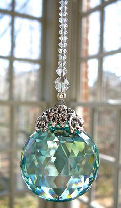 "Crystal Ball Suncatcher, 30mm Swarovski Crystal Ball, Swarovski Crystal Prism, Rainbow Maker, Available in 9 Colors -""SERENITY"""