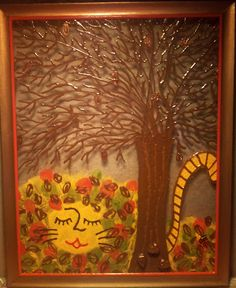 """""""LunchBag Cat PileO'Leaves"""" Autumn of The 4 Seasons Set. AdiSta Original WindowPictures are Dimensional Paint on Framed Glass.Re-purposed glass & frames are hand painted then sealed for longivity. We think you get the best of both worlds when you hang your """"WindowPicture"""" in a window. You will marvel at the differences as you look at it in the daylight, see the brush strokes in the colors. At night the whole picture comes into a completely different focus. 8""""x10"""" $25.+S"""