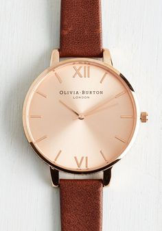 Time Floats By Watch in Brown & Rose Gold - Big. Float on a cloud of stylish enchantment as you daydream wearing this leather Big Dial watch from Olivia Burton! #brown #modcloth