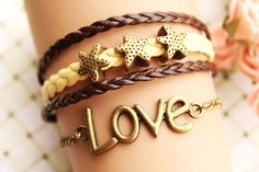 LOVE bracelet,retro bronze love letters with starfish Pandora bead,alloy bracelet,yellow and brown leather braid bracelet---B096