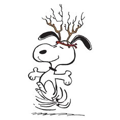 Charles M. Schulz 'Snoopy Antlers' Art