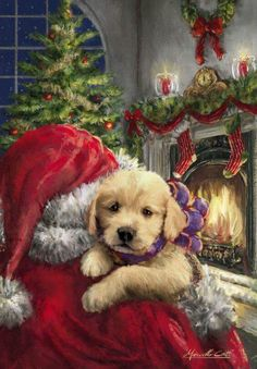 Heartwarming Christmas scene of Santa delivering a puppy. Somebody is going to have the best Christmas day yet! Printed on luxury paper napkins. Nice gift for the rabbit lover! Package of 20 Napkins Christmas Puppy, Christmas Scenes, Old Fashioned Christmas, Christmas Animals, Christmas Past, Christmas Greetings, Winter Christmas, Illustration Noel, Christmas Illustration