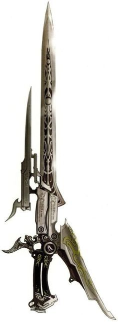 Final Fantasy XIII-2 gunblade we used as the design basis for two of our custom FFXIII-2 Lightning wedding rings