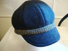 Hat from recycled wool sweaters - navy blue on Etsy, $40.00