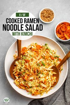 Crunchy cabbage, bouncy noodles, and spicy kimchi combine to make this hearty and tasty salad! It's also vegan, gluten-free, and ready in 20 minutes. Korean Side Dishes, Main Dishes, Ramen Noodle Salad, Ramen Noodles, Kimchi Noodles, Lunch Meal Prep, Easy Meal Prep, Healthy Salad Recipes, Vegetarian Recipes
