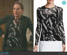 Vivian's black and white patterned top on Days of our Lives.  Outfit Details: https://wornontv.net/95522/ #DaysofourLives