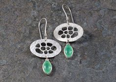 """2"""" from top of earwire and 1"""" across at widest point.  Sterling+Silver+Bubble+Earrings+with+by+LeslieZemenekJewelry"""